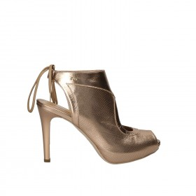 NERO GIARDINI ANKLE BOOT BLUNT MICROPHORATED LEATHER BRONZE