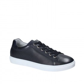 NERO GIARDINI SNEAKERS WOVEN LEATHER BLUE MARINE