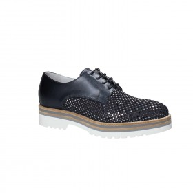 NERO GIARDINI LACED DERBY SUEDE PERFORATED OCEAN