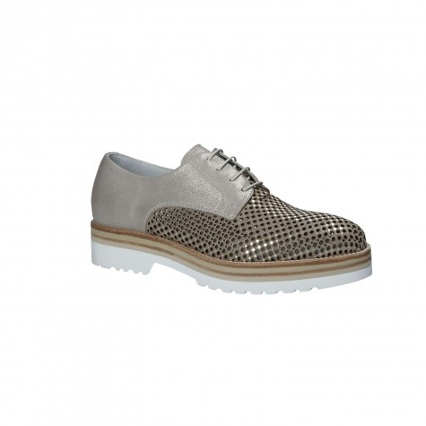NERO GIARDINI LACED DERBY SUEDE PERFORATED SAVANNAH
