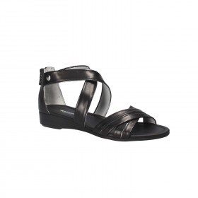 NERO GIARDINI SANDAL WEDGE LEATHER BLACK